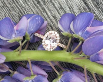 Pink Peach Champagne Sapphire Rose Gold Engagement Ring
