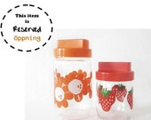 RESERVED - 2 Vintage Glass Canister with Plastic Lid by French Henkel with Daisies and Strawberries