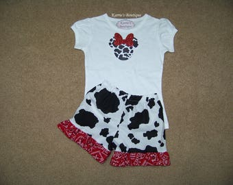 Minnie Mouse Outfit / Ruffle Shorts + Shirt / Cow Print & Red Bandana / Disney / Birthday / Newborn / Infant / Baby/ Girl/ Toddler/ Boutique