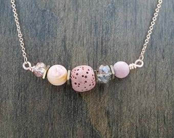 Pink Opal Beaded Rose Gold Aromatherapy Necklace Essential Oil Diffuser Necklace Lava Stone Pink Rhodonite Necklace