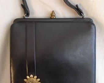 Vintage 1950s Black Leather Upright Purse Kelly Bag Gold Medallion Trim MCM