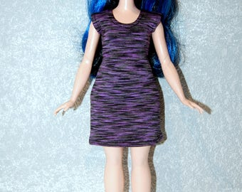 Dress fits Curvy Barbie fashionista fashion doll clothes Purple Stripe A4B185
