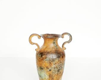 Iron Ornate Scroll Handled Vase Vessel