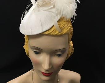 Tulle covered Fascinator with Feather Flowers and Birdcage Veil