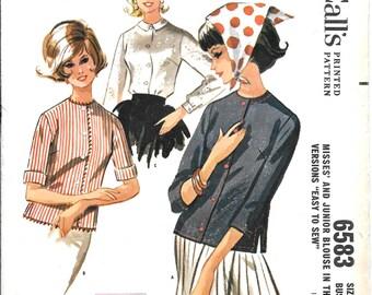 1960s Simple Blouse Pattern 3 Versions Button Front Long Short Three Quarter Sleeve No Collar McCalls 6583 Sz 12
