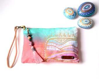 Hand Painted Canvas Ethnic Clutch, Boho Style Canvas Clutch Wristlet, Hand Painted Unique Gift For Her Wife Girlfriend, Valentines Day Gift