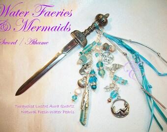 Water Faeries & Mermaids / Fairy Sword/Athame - Turquoise Aura Lustre Quartz Point, Fresh-water Pearls