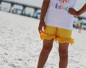 Yellow Ruffle Shorties, Buttercup Ruffle Shorts - yellow knit ruffle shorties sizes 6m to girls 10 - Free Shipping