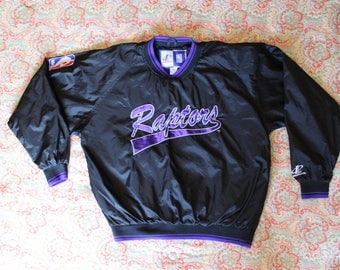 NBA Toronto Raptors Pullover Windbreaker - Purple & Black in Color - Size L - Official NBA Licensed Product by LogoAthletic