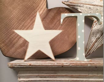 Wooden Letter & Star  - Star and Initial, Any letter, choice of colours,  Set of 2 - a letter and a star! 20cm high, nursery decor