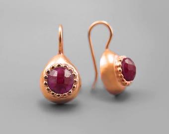 Ruby Earrings 14K Rose Gold Plated Silver, Red Ruby Gemstone Gold Earring, Teardrop Earring, July Birthstone, Ruby Jewelry, Red Drop Earring
