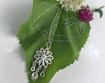 Sterling Silver Floral Filigree Necklace Vintage Edwardian Handmade Silver Flower Pendant With Dangles on Newer Vintage Stamped Chain