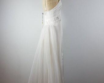 princess | vtg 1960s slip dress | vintage 60s maxi dress | maxidress | tulle train | x-small/small | xs/s