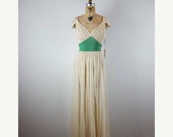 CLEARANCE SALE mercee me | vintage 1930s chiffon gown | vtg 30s silk dress | maxi dress/maxidress | xs/small