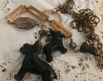 BOSTON TERRIER DOG vintage antique assemblage necklace
