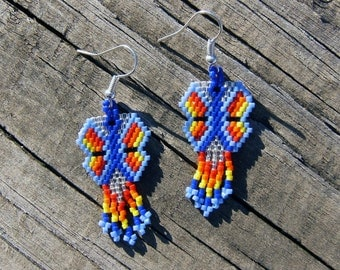Handmade beaded butterfly earrings
