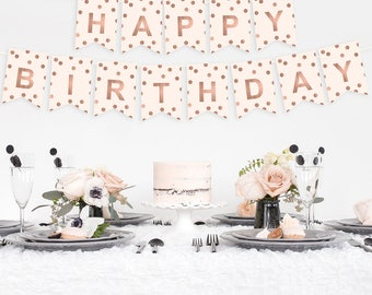 Happy Birthday Banner Foil Printed - Gold Birthday Banner - Silver Birthday Banner - Rose Gold Birthday Banner - Confetti Birthday Banner