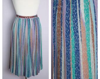 Vintage 1970's/80's Stripe Pleated Midi Skirt S/M