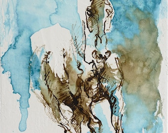 Small Painting on canvas board, Contemporary Horse Art, Original Art, Acrylic and ink Horse Painting