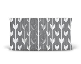 Changing Pad Cover Grey Arrows - Grey Arrow Changing Pad Cover - Arrow Changing Pad - Grey Changing Pad-Gender Neutral Changing Pad- Organic
