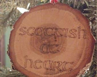 Scottish at Heart woodburned ornament pyrography