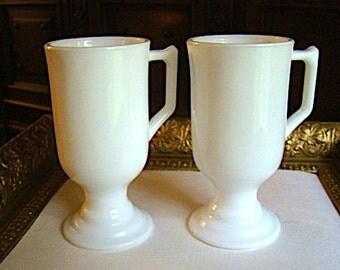 Vintage Milk Glass  Pedestal or Footed Cups or Mugs