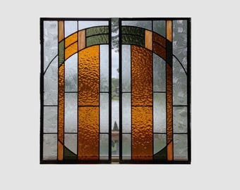 2 Arts and crafts mission prairie style stained glass panels window hanging stained glass window panel  0278 18 1/2 x 9