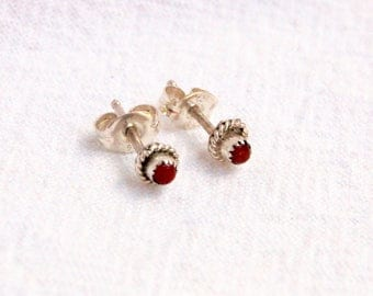 Vintage Red Coral Stud Earrings Tiny Native American Posts Southwestern Jewelry
