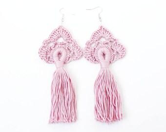 Tassel earrings Cotton crochet jewelry Long dangling earrings Hippie Gypsy Boho chic Bohemian wedding bridesmaid gifts Festival Pink Red