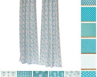 Window Curtains- Pair of Drapery Panels- Coastal Blue Curtains- Aqua Drapes- Blue Window Treatments- Nautical Decor- Custom Curtains- Shade