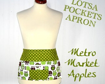 Metro Market Apples Teacher Apron, Vendor Apron, Gardening Apron - 6 pocket half apron with zip pocket for money READY TO SHIP in this size