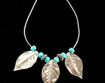 Beaded Leaf Necklace Turquoise & Silver Big Retro Vintage