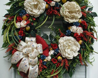 July 4th Wreath Large Patriotic Floral Decoration Front Door Wreath Entryway Decor Red Off White Blue Yellow Burlap God Bless America Bow