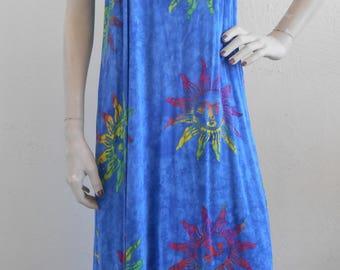 Boho Vintage Batik Sun Dress Lounger Small Swim Suit Cover Up