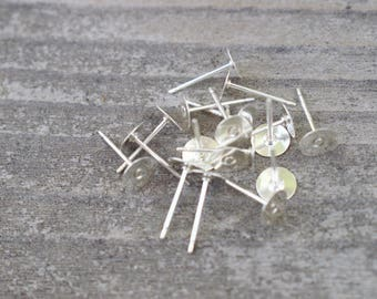 2 pairs Sterling Silver Earring Posts with 6mm Flat Pads