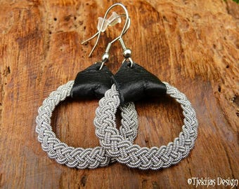 Black Viking Earrings ASGARD Lapland Sami Dangle Hoops in Pewter Thread and Reindeer leather - Handmade Nordic Spirit Jewelry