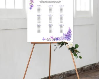 Digital Reception Seating Chart, Wedding Reception Sign, Day Of Stationery - Lavender Dreams/Purples and Vines (Style 0003)