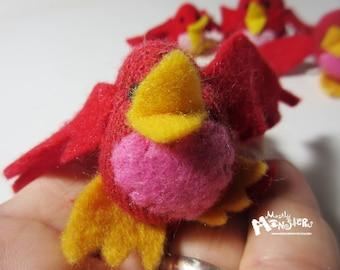 THUMBKIN Bird;Red toy bird; kawaii toy;tiny knit toy; pocket plushie; Thumbkin toy; repurposed gloves; Love Bird; Red Pink Bird