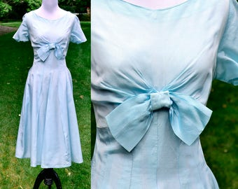 1950's Pale Blue Taffeta Party Dress / 50's Vintage Bridesmaid Dress / Medium