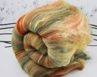 Wooly Batts, art batts for spinnning, carded merino, hand dyed fibers, needle felting supplies in Forest Path, spin your own DIY fiber batt
