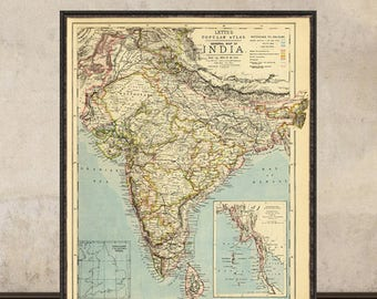 Vintage map of India - Archival reproduction - India wall map