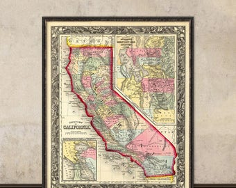 California map  - Old map of California fine reproduction - Published in  1860