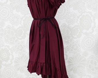 "Steampunk Ragamuffin Dress with Cora Sleeves in Burgundy Cotton -- Size Medium, Fits Bust 36""-42"" -- Ready to Ship"