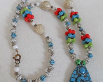 Egyptian revival wonderful 1920's/30's necklace with Pharaoh pendant