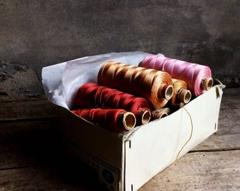 French Vintage Silk Thread. Heavy Gauge Silk Threads for Tatting, Embroidery, Sewing, Crafting. Excellent Condition. Fabulous Colors.