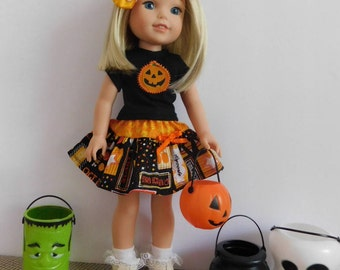 Fits Wellie Wisher Dolls. Halloween party outfit. Handmade. Skirt and T-Shirt top. American Girl WW Dolls.. Halloween costume