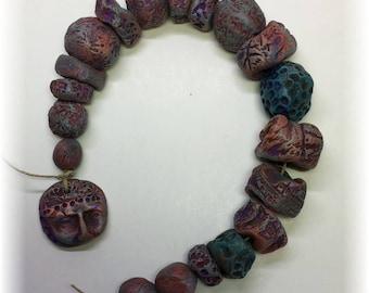 19 Handmade Rustic Artisan Beads plus 1 Dangle in TEAL , ORANGE and BERRY for Jewelry Art ooak