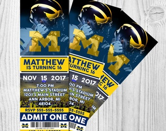 University of Michigan NCAA College Football Printable Birthday Invitation; Digital Graphic Design