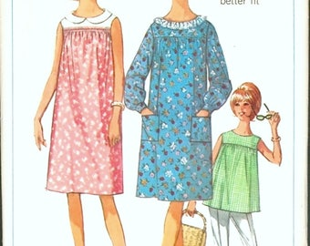 Sweet Vintage 1960s Simplicity 6362 Muu Muu Style Yoked Maternity Dress or Tunic Top Sewing Pattern B34