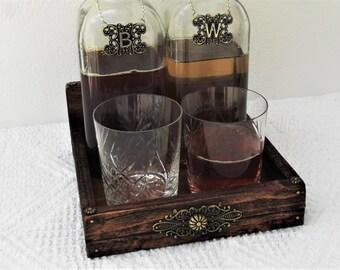 office mini bar. Decanter Holder Drinks And Glasses Tray Whiskey Brandy Display Mini Office Bar E